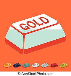 Flat design: bullion gold