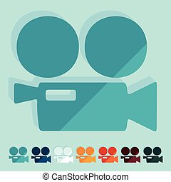 Flat design: movie camera