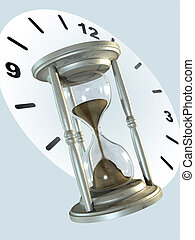 Hourglass - Metal hourglass and clock background. Digital...