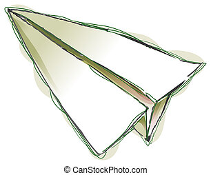 Paper airplane - Isolated white paper airplane on white
