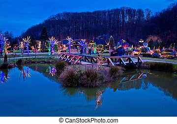 Christmas village by the lake view