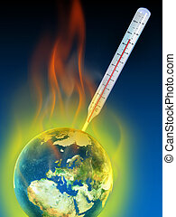 Global warming - Thermometer measuring planet earth...