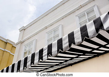 black and white striped sunblinds