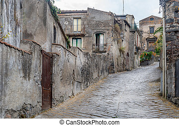 Forsa d'Agro ancient streets. Sicily. - Ancient stone homes...