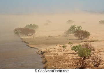 Sand storm - Severe sand storm with windblown trees on the...