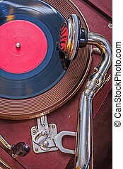 old gramophone up view very close up