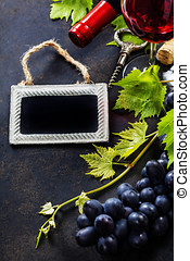 Wine and grape - Food background with Wine and Grape