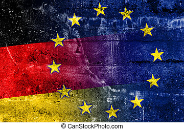 Germany and European Union Flag painted on grunge wall
