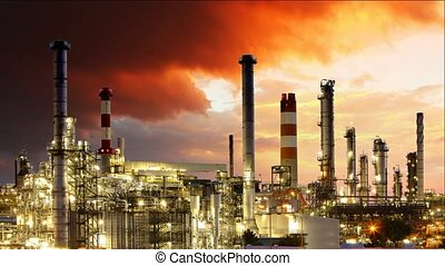 Gas refinery, Oil industry - Time lapse