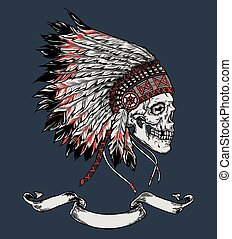 Indian skull hand drawn vector illustration