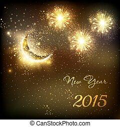 szczęśliwy, nowy, rok, Wektor, celebrowanie, tło,...