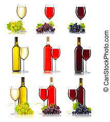 Set of different kinds of wine red, rose, white with grapes...