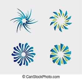 Spiral circular logo element set