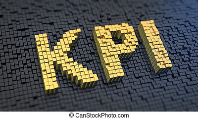KPI cubics - Acronym 'KPI' of the yellow square pixels on a...