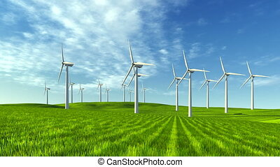 Windfarm on the green hills - Wind turbines on the green...