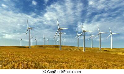 Windmills and autumn grass