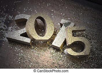 new year 2015 - light on 2015 golden figures put pele mele...