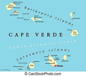 Cape Verde Political Map with capital Praia and important...