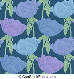 Beautiful seamless background with flowers Plant Paeonia arborea (Tree peony) with stem and leaves.