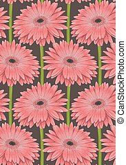 Beautiful seamless background with pink gerbera flower with a stem. Hand-drawn