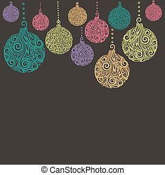 Christmas background with Christmas balls Hanging . Great...