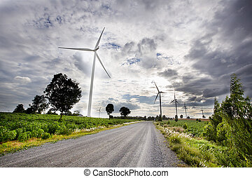 Wind turbines, pure energy,windmills in the fields in...
