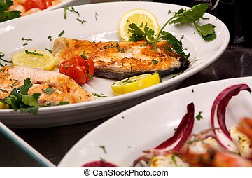 Swordfish - a view of swordfish filet in a plate