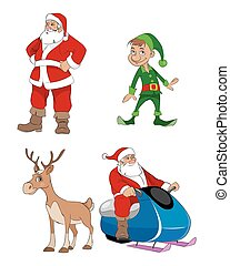 Santa, deer, elf - Vector illustration of a Santa, deer, elf...