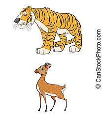 Gazelle and tiger - Vector illustration of a two anomals -...