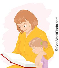 Mom teaches daughter to read - Vector illustration of a mom...