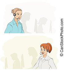 Two callcenter girls - Vector illustration of a two...