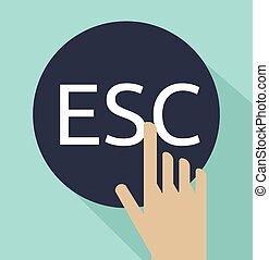 hand click on escape button