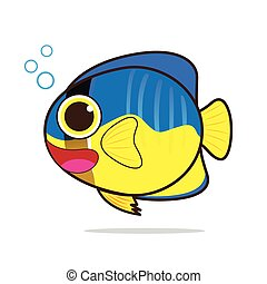 Angelfish cute cartoon eps 10 vector