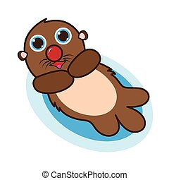 Otter cute cartoon eps 10 vector
