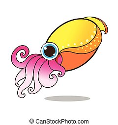 Cuttlefish cute cartoon eps 10 vector