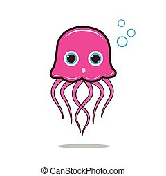 Jellyfish cute cartoon eps 10 vector