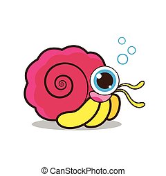 Hermit crab cute cartoon vector