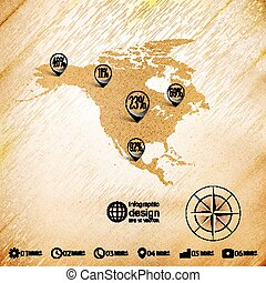 North america map, wooden design background, infographics...