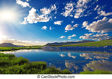 mountain lake - Clear mountain lake in Colorado mountains,...