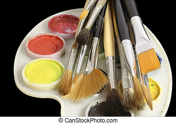 Set of art brushes and water colour - Set of art brushes...