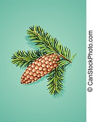 Pine cone with branch - Vector illustration of Pine cone...