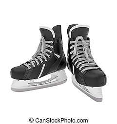 ice skates - 3d illustration of ice skates on white...