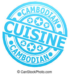 Cambodian, keuken, postzegel,