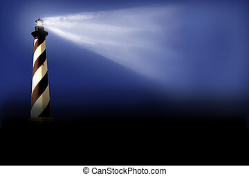 Beacon - Illustration of a beacon which casts near coast at...