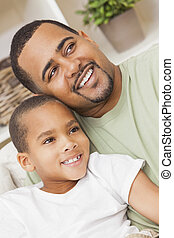 Happy African American Father Son Family