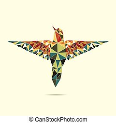 geometric hummingbird abstract colour eps 10 vector
