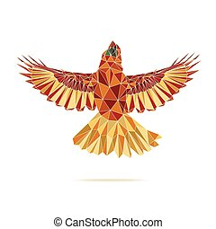 geometric cardinal flying abstract colour eps 10 vector
