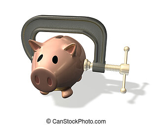 3d render piggy bank credit crunch - 3d render piggy bank in...