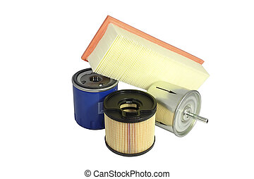 Automobile filters, fuel, for oil clearing, air, located on...