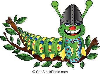 Caterpillar - caterpillar on a branch; fruit eater; vector...